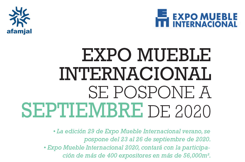 EXPO MUEBLE INTERNACIONAL SE POSPONE A SEPTIEMBRE DE 2020
